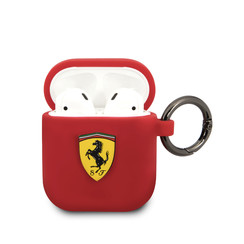 Ferrari AirPods case with ring - printed shield logo - red