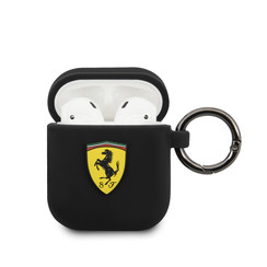 Ferrari AirPods case with ring - printed shield logo - black