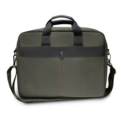 Ferrari Collectie -11-12-13.3-15 inch Laptoptas type schoudertas for laptop en notebook (messenger tas), 11-14 inch for o.a. HP, Dell, Asus, Acer, Medion, Toshiba, Lenovo, Macbook, Microsoft, Peaq etc.,  Kaki - Black Off Track - FEOCECB15KA