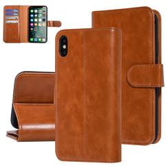 UNIQ Accessory iPhone Xs Max Donker Bruin Zachte huid Booktype hoesje