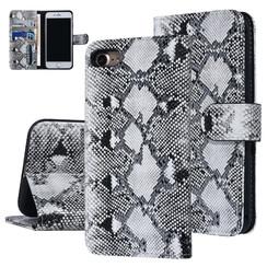 UNIQ Accessory iPhone 7-8 Zwart en Wit Slangenleer Booktype hoesje