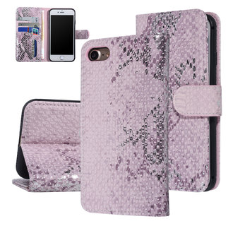 UNIQ Accessory iPhone 7-8 Roze Slangenleer Booktype hoesje