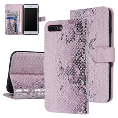 UNIQ Accessory iPhone 7-8 Plus Roze Slangenleer Booktype hoesje
