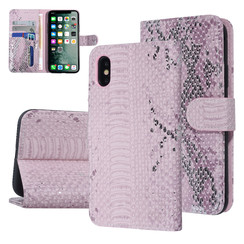 UNIQ Accessory iPhone X-Xs Roze Slangenleer Booktype hoesje