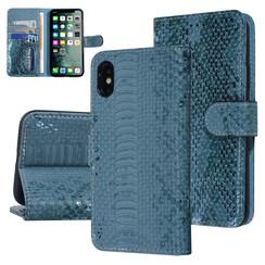 UNIQ Accessory iPhone X-Xs Groen Slangenleer Booktype hoesje