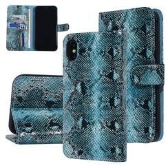 UNIQ Accessory iPhone Xs Max Zwart en Groen Slangenleer Booktype hoesje