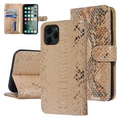 UNIQ Accessory iPhone 11 Pro Goud Slangenleer Booktype hoesje