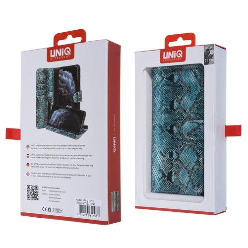 UNIQ Accessory UNIQ Accessory iPhone 11 Pro Noir et Vert Peau de serpent Book type housse