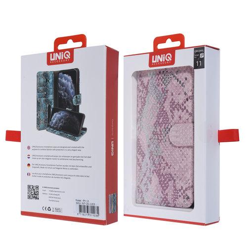 UNIQ Accessory UNIQ Accessory iPhone 11 Rose Peau de serpent Book type housse