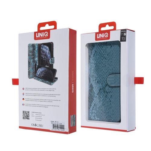 UNIQ Accessory UNIQ Accessory iPhone 11 Groen Slangenleer Booktype hoesje