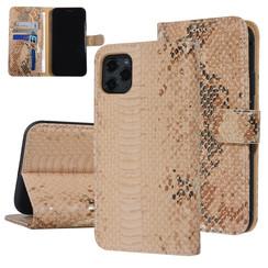 UNIQ Accessory iPhone 11 Pro Max Goud Slangenleer Booktype hoesje