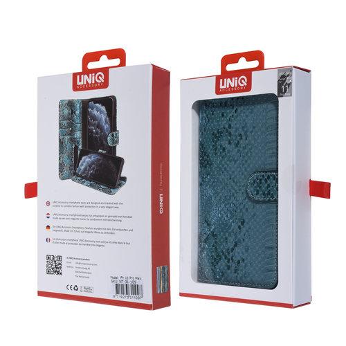 UNIQ Accessory UNIQ Accessory iPhone 11 Pro Max Groen Slangenleer Booktype hoesje