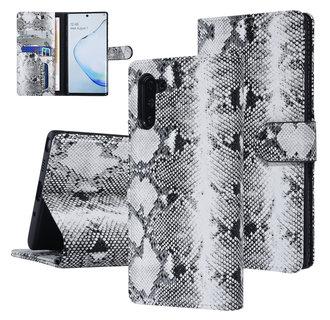 UNIQ Accessory Galaxy Note 10 Zwart en Wit Slangenleer Booktype hoesje