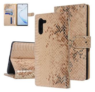 UNIQ Accessory Galaxy Note 10 Goud Slangenleer Booktype hoesje