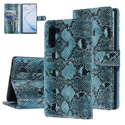 UNIQ Accessory Galaxy Note 10 Zwart en Groen Slangenleer Booktype hoesje