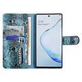 UNIQ Accessory UNIQ Accessory Galaxy Note 10 Zwart en Groen Slangenleer Booktype hoesje