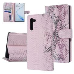UNIQ Accessory Galaxy Note 10 Roze Slangenleer Booktype hoesje