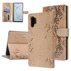UNIQ Accessory Galaxy Note 10 Plus Goud Slangenleer Booktype hoesje