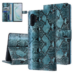 UNIQ Accessory Galaxy Note 10 Plus Noir et Vert Peau de serpent Book type housse