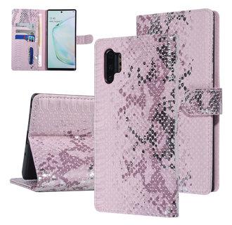 UNIQ Accessory Galaxy Note 10 Plus Roze Slangenleer Booktype hoesje