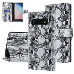 UNIQ Accessory Galaxy S10 Zwart en Wit Slangenleer Booktype hoesje