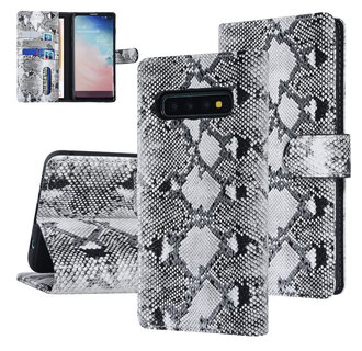 UNIQ Accessory Samsung Galaxy S10 Black and White Snakeskin Book type case