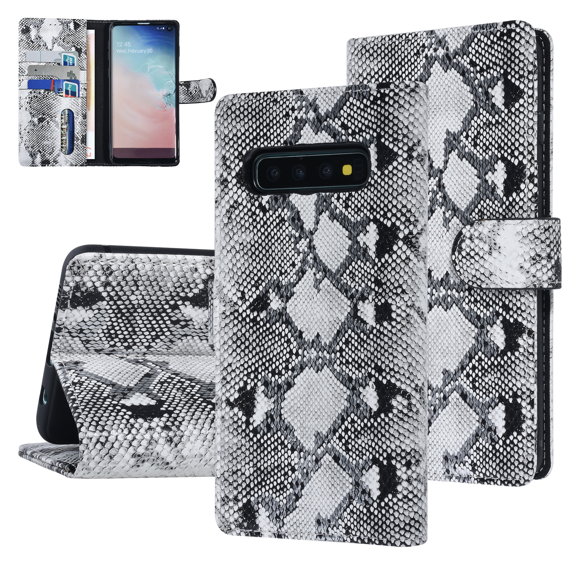 UNIQ Accessory Galaxy S10 Schwars und Weiss Schlangenhaut Book-Case hul