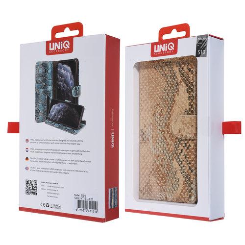 UNIQ Accessory UNIQ Accessory Galaxy S10 Goud Slangenleer Booktype hoesje