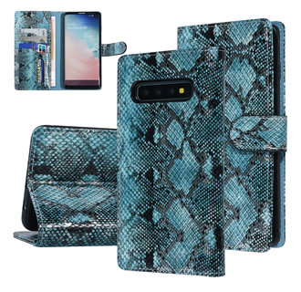 UNIQ Accessory Samsung Galaxy S10 Black and Green Snakeskin Book type case
