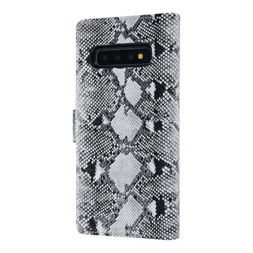 UNIQ Accessory UNIQ Accessory Galaxy S10 Plus Zwart en Wit Slangenleer Booktype hoesje