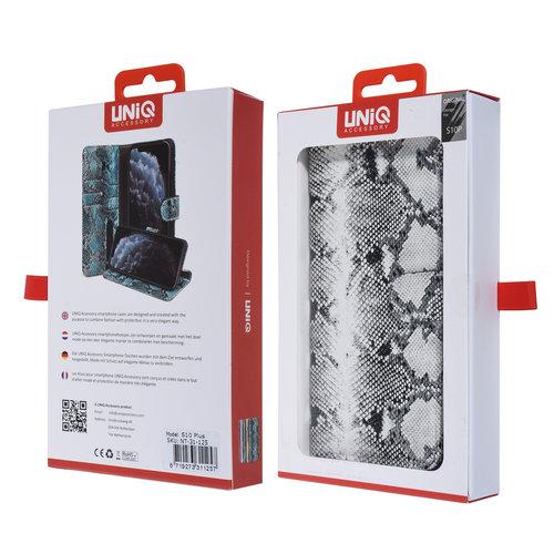 UNIQ Accessory UNIQ Accessory Galaxy S10 Plus Noir et Blanc Peau de serpent Book type housse