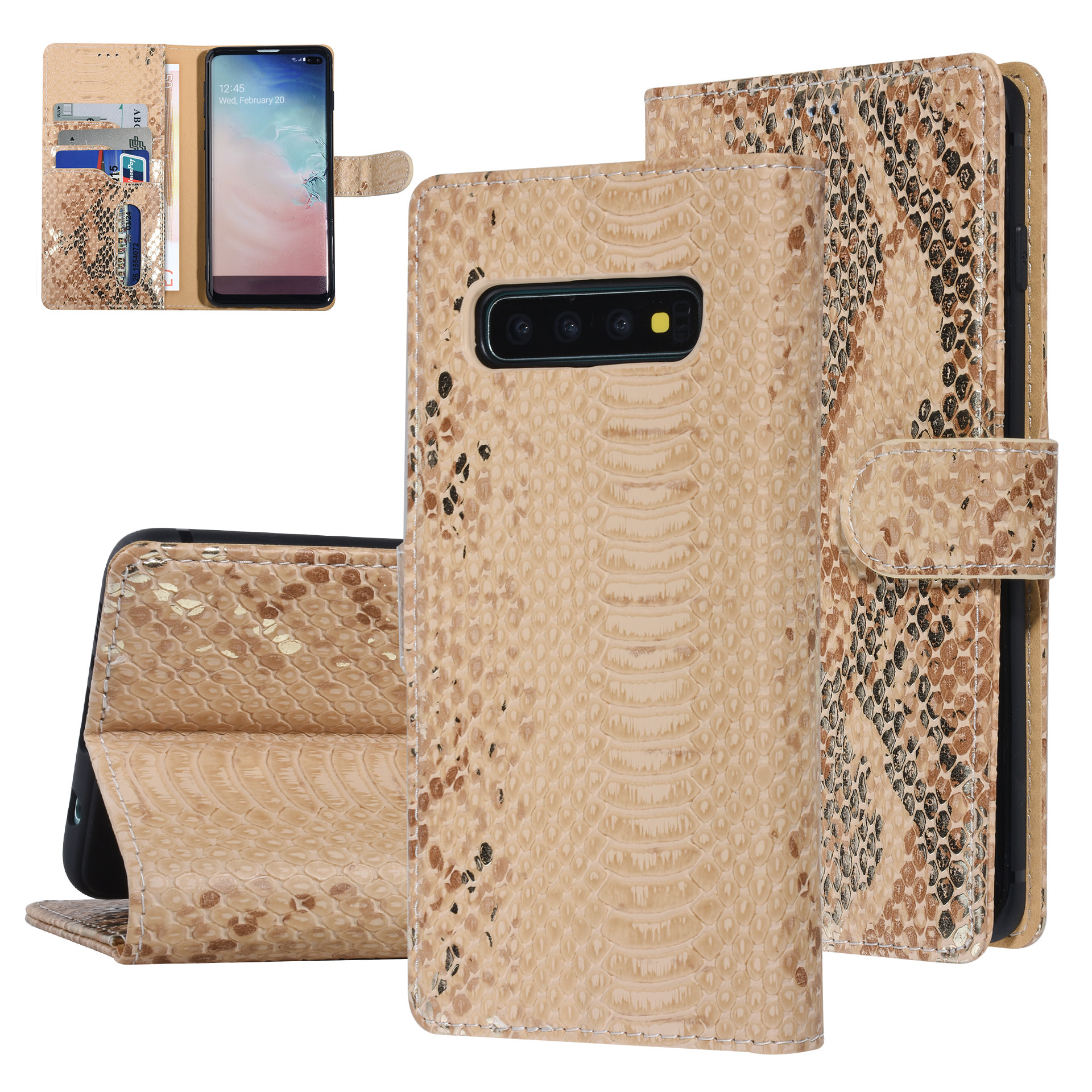 UNIQ Accessory Galaxy S10 Plus Gold Schlangenhaut Book-Case hul