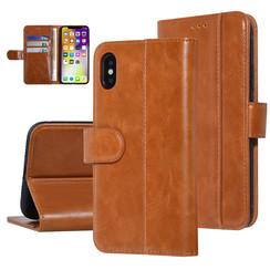 UNIQ Accessory iPhone X-Xs Donker Bruin Zachte huid Booktype hoesje