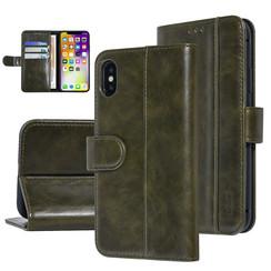 UNIQ Accessory iPhone X-Xs Donker Groen Zachte huid Booktype hoesje