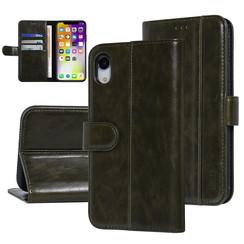UNIQ Accessory iPhone XR Donker Groen Zachte huid Booktype hoesje