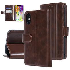UNIQ Accessory iPhone Xs Max Bruin Zachte huid Booktype hoesje