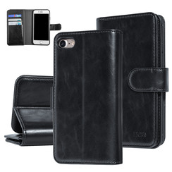UNIQ Accessory iPhone 7-8 Zwart Zachte huid Booktype hoesje