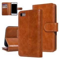 UNIQ Accessory iPhone 7-8 Donker Bruin Zachte huid Booktype hoesje