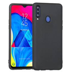 Hoes voor Samsung Galaxy A20S , Silicone case, mat zwart