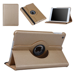 Hoes voor Apple iPad Mini 2 / 3 Book Case 360 Graden Draaibaar - Goud Leer Cover Rotatie Hoesje voor iPad Mini 2 / 3