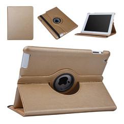 Hoes voor Apple iPad 2 / 3 / 4 Book Case 360 Graden Draaibaar - Goud Leer Cover Rotatie Hoesje voor iPad 2 / 3 / 4
