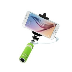 Earldom Groene Selfie Stick met 3.5 jack - 100 cm uitschuifbaar