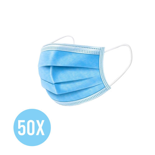 Andere merken 50x Mondkapjes 3-laags wegwerp mondmaskers - Blauw