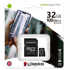 Kingston Micro SD 32GB Memory Card with Adapter - Class 10