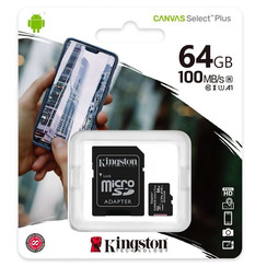 Kingston Micro SD 64 GB Memory Card with adapter - Class 10