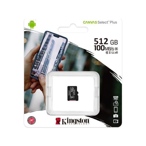 Kingston Kingston 512GB microSDHC Canvas Select Plus 100R A1 C10 Single Pack zonder Adapter