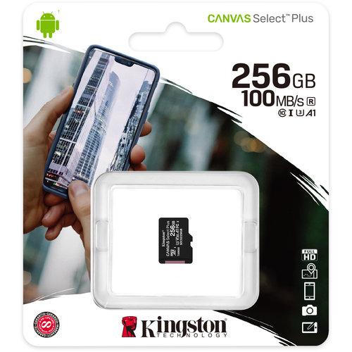 Kingston Kingston 256GB microSDHC Canvas Select Plus 100R A1 C10 Single Pack zonder Adapter