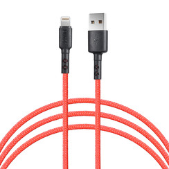 Lightning USB Cable 100cm fast data transfer charger Red - Nylon