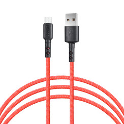 Micro USB Cable 100cm fast data transfer charger Red - Nylon