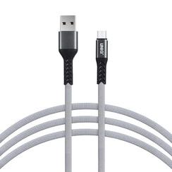 Micro-USB-Kabel 100cm Schnellladegerät Daten übertragen grau Nylon